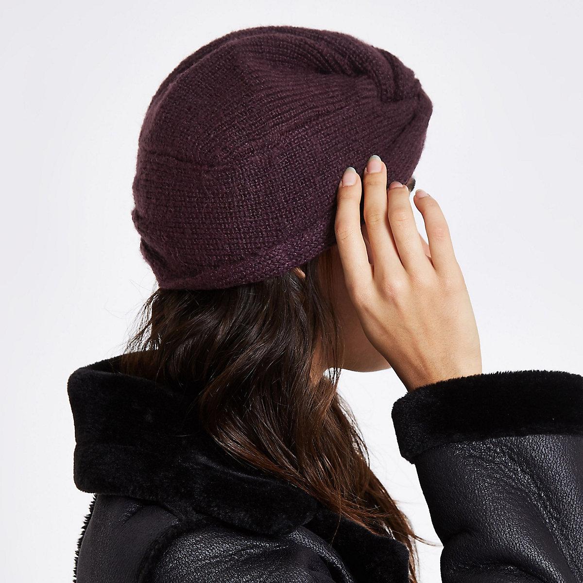 Dark red knit twist turban headband