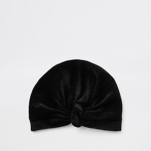 Black plisse velvet twist turban headband