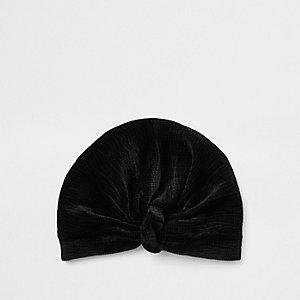 Zwarte fluwelen gedraaide tulband met plooien