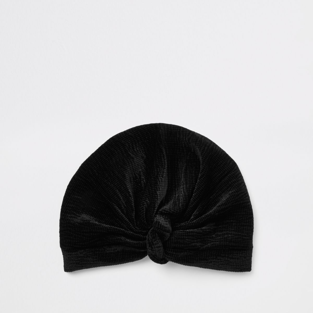 Black plisse velvet twist turban headband