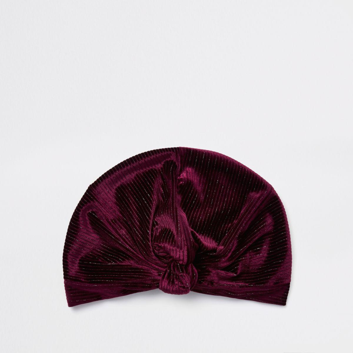 Burgundy plisse velvet twist turban headband