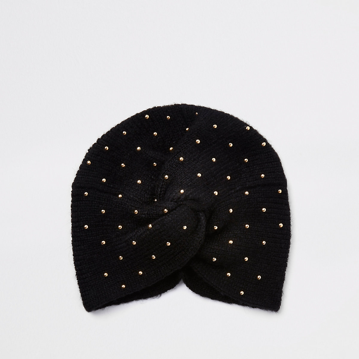 Black stud embellished knit turban headband