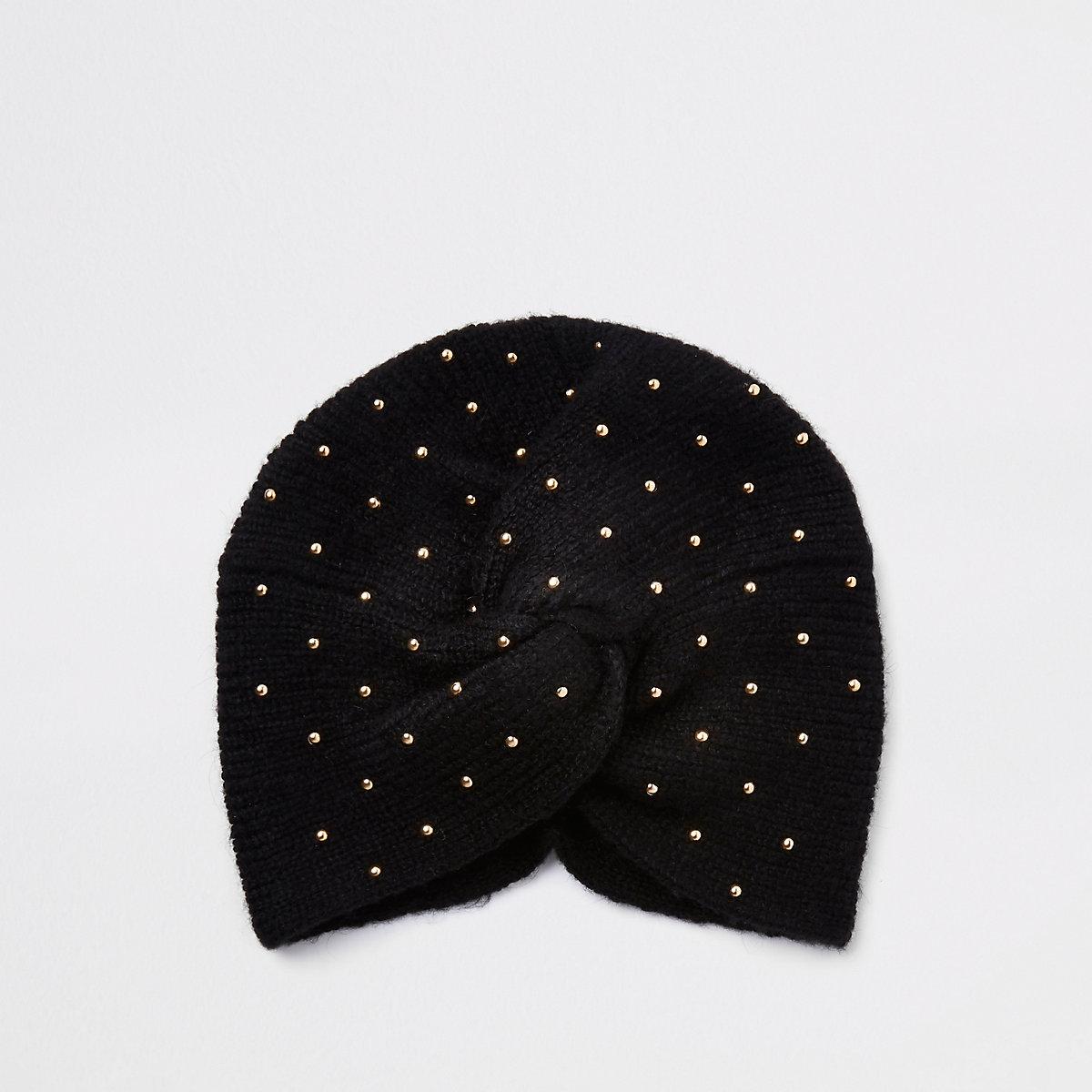 Black stud embellished knit turban headband