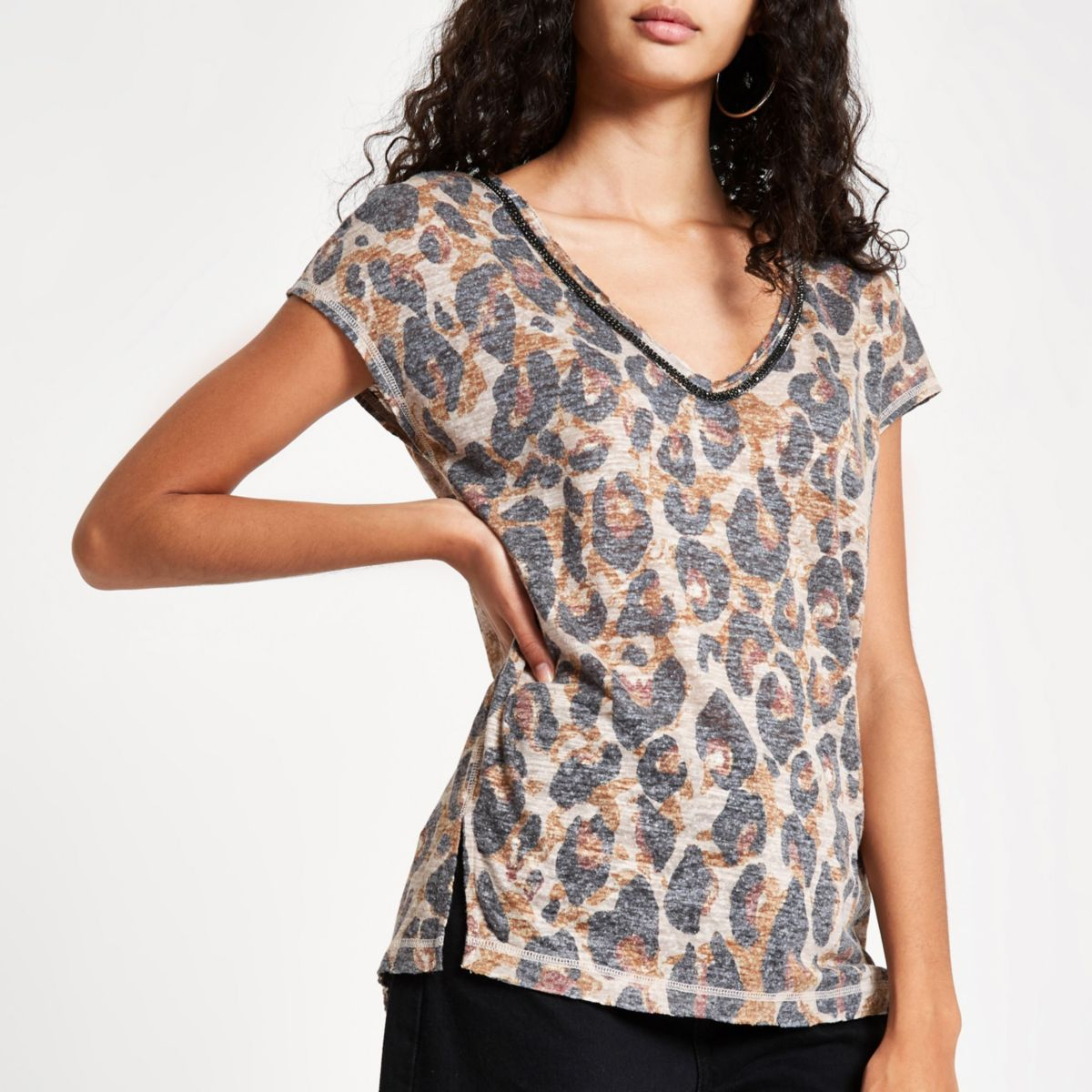 Brown leopard print rhinestone trim tank top