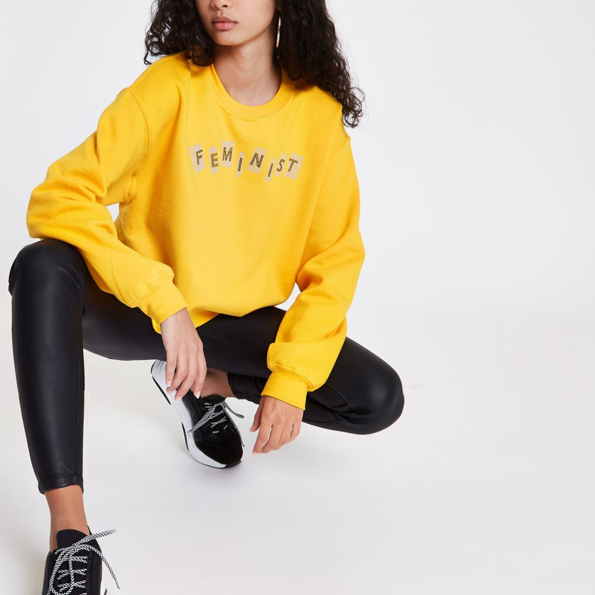 Yellow 'feminist' cropped sweatshirt