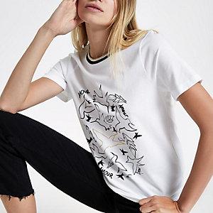 Wit T-shirt met korte mouwen, vogel- en 'amour'-print