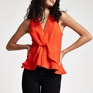 Red twist front frill hem top