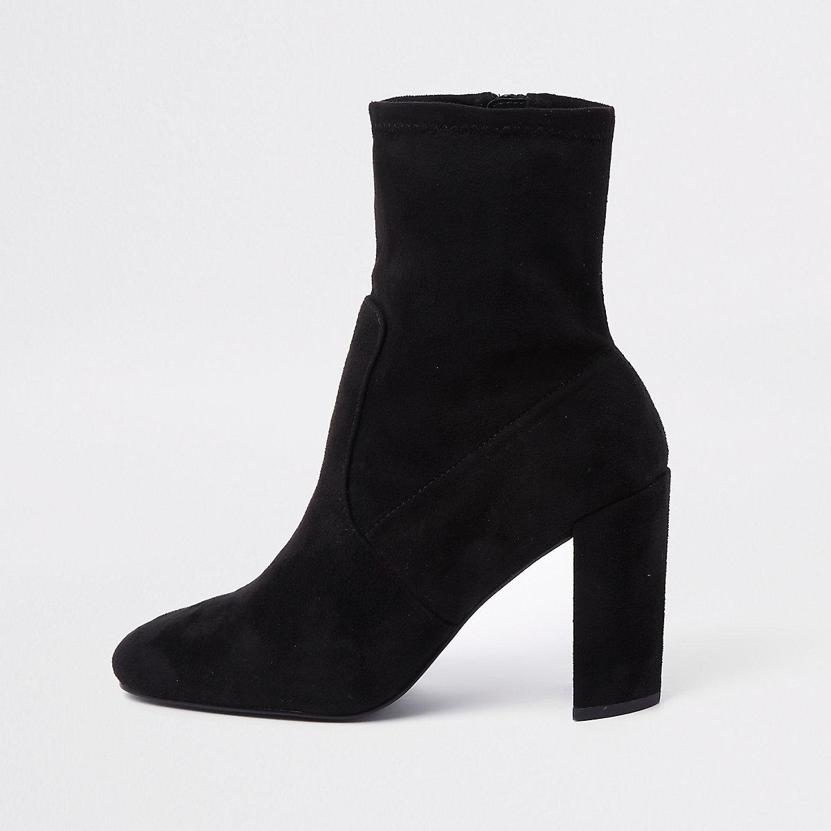 Zwarte sock boots van imitatiesuède met blokhak