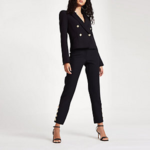 Black button hem cigarette trousers