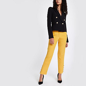 Yellow button hem cigarette trousers