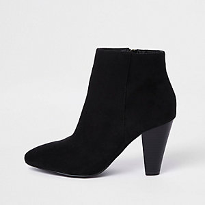 Black faux suede pointed cone heel boots