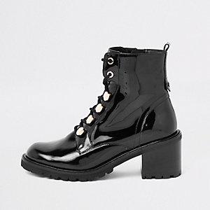 Zwarte lakleren stevige laarzen met veters