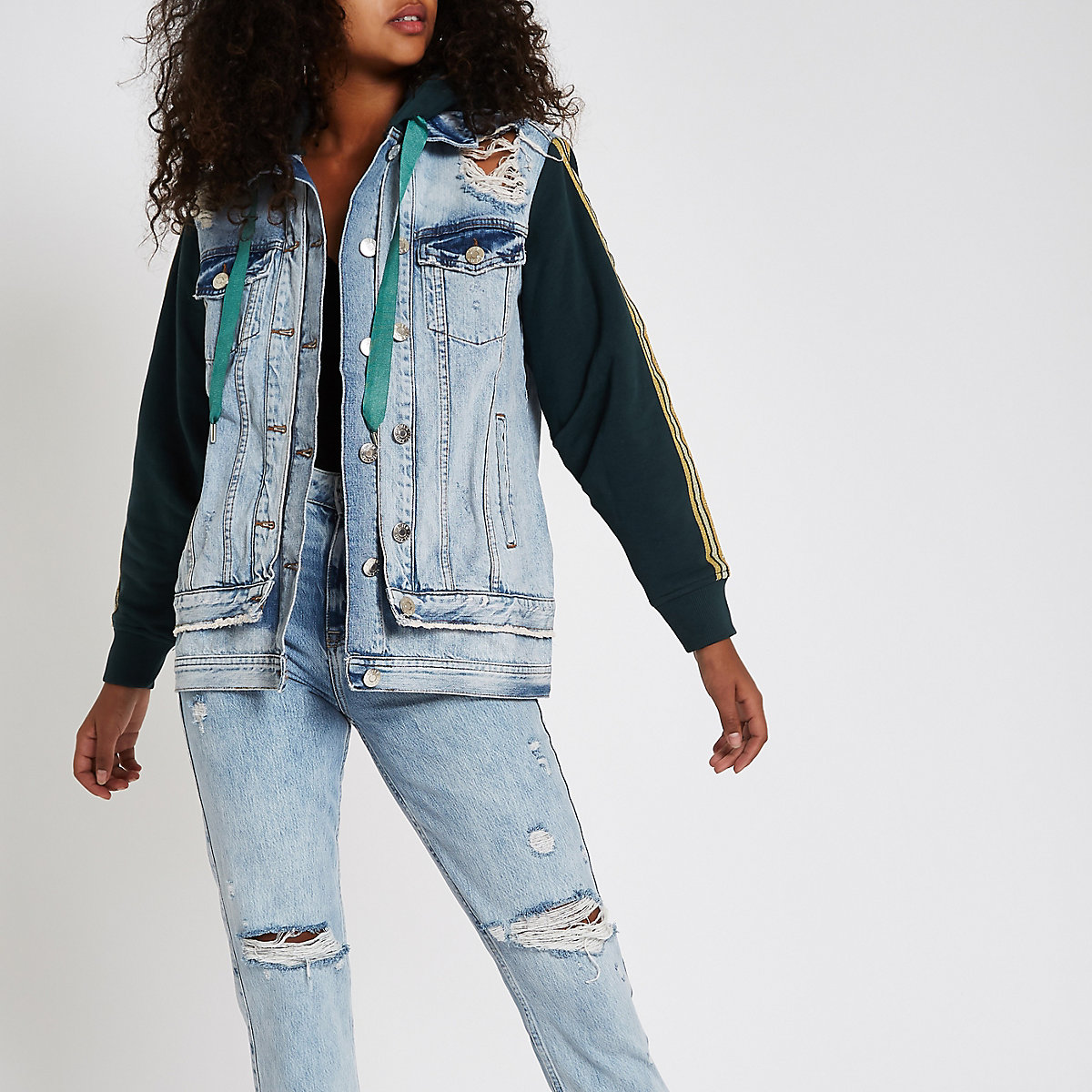 Mid blue jersey sleeve tape side denim jacket
