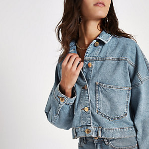 Blue button back cropped denim jacket