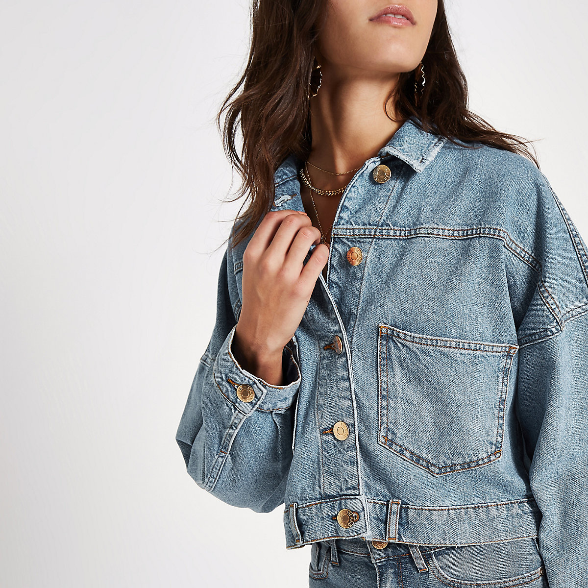 Blue button back cropped denim jacket