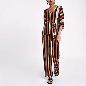 Blue stripe pleated wide leg trousers