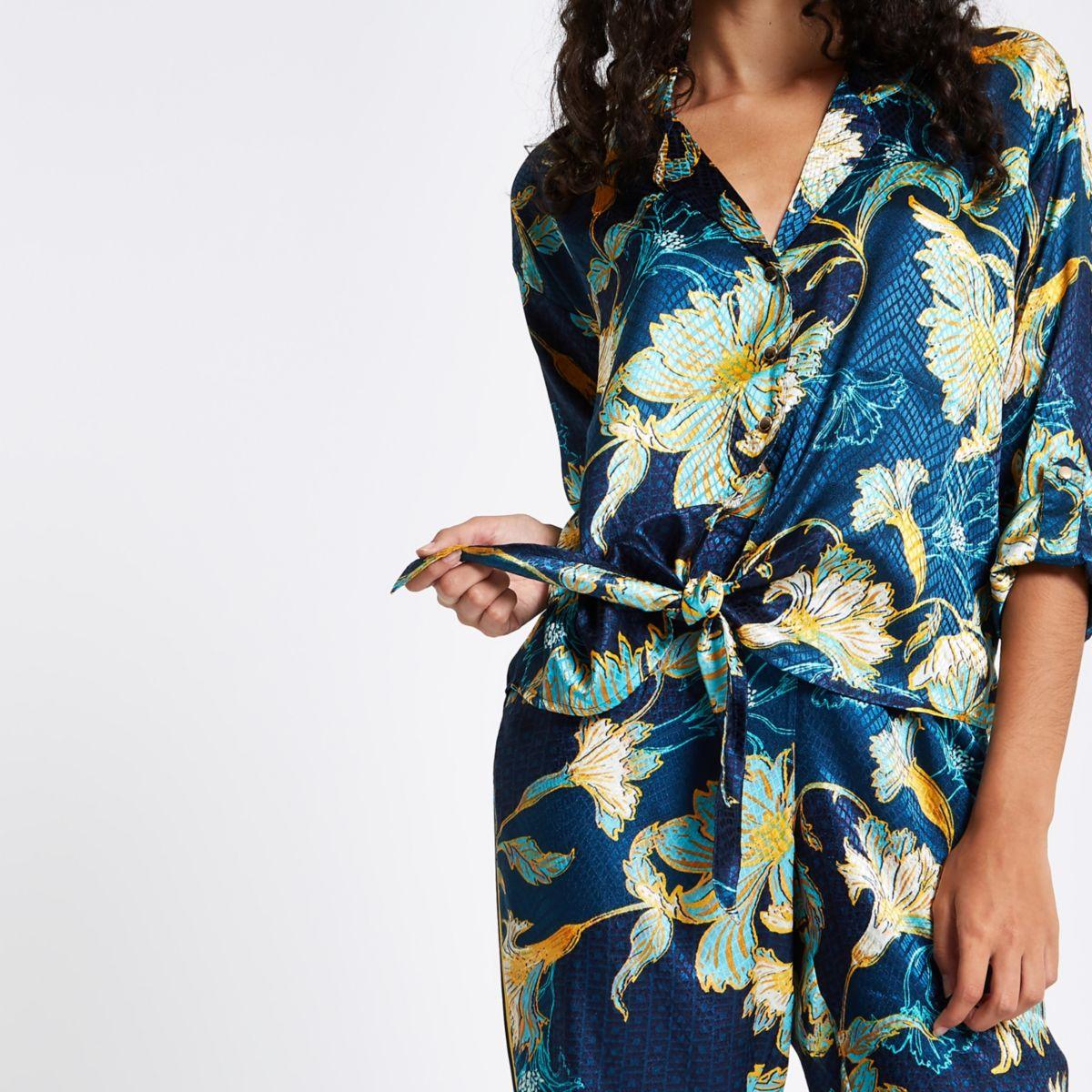 Blue floral print jacquard tie front shirt