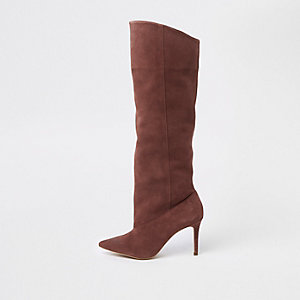 Light pink suede knee high boots