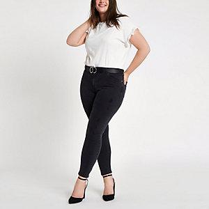 Plus – Alannah – Schwarze Skinny Jeans mit mittelhohem Bund