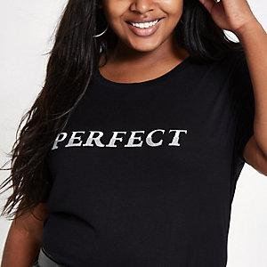 """Plus – Schwarzes, langes T-Shirt """"perfect"""""""