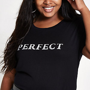 RI Plus - Zwart lang T-shirt met 'perfect'-print
