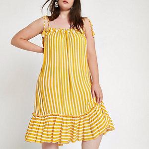 RI Plus - Gele gestreepte strandjurk met pompons