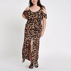 RI Plus - Schouderloze maxi-jurk met luipaardprint