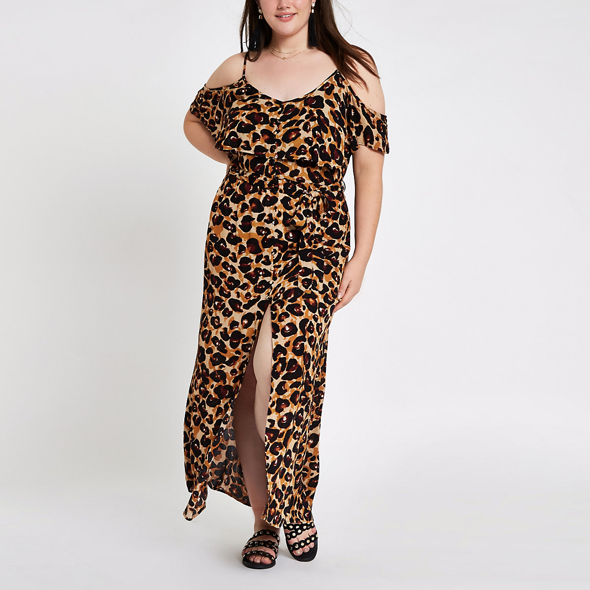 Plus leopard print cold shoulder maxi dress
