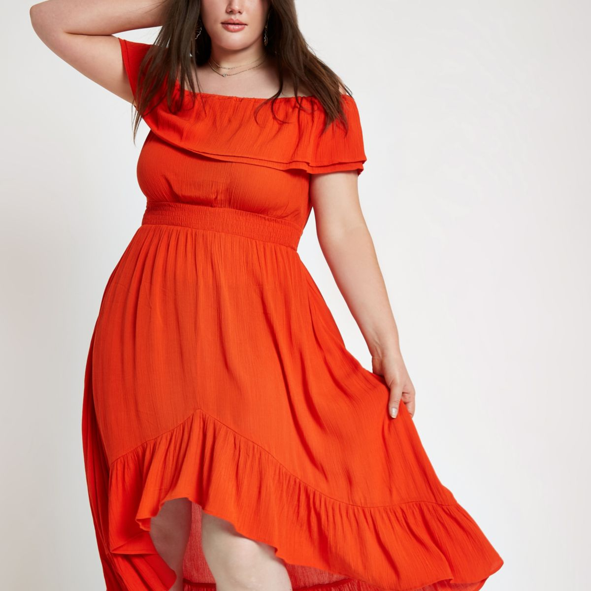 Plus red shirred bardot frill hem maxi dress