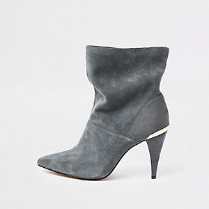 Grey wide fit suede slouch cone heel boots
