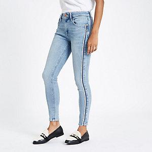 RI Petite - Amelie - Blauwe gestreepte skinny-fit jeans