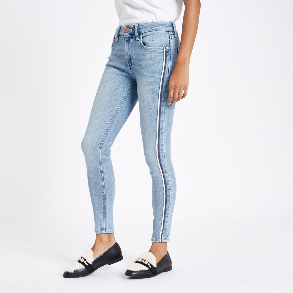 Petite blue Amelie stripe skinny fit jeans