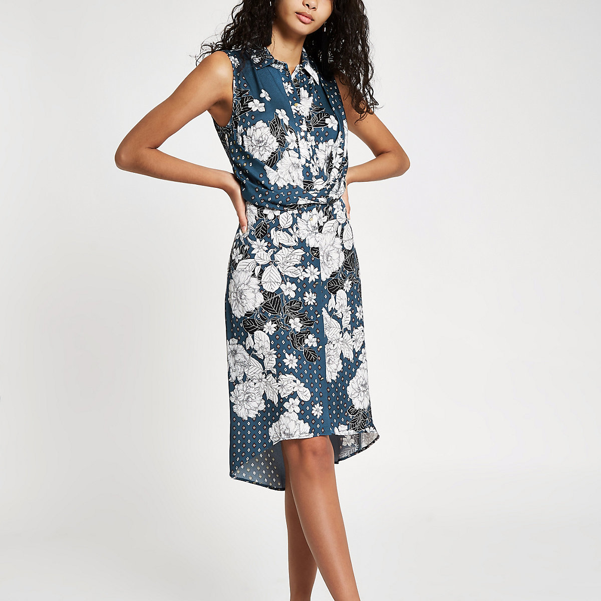 Blue floral twist front midi shirt dress