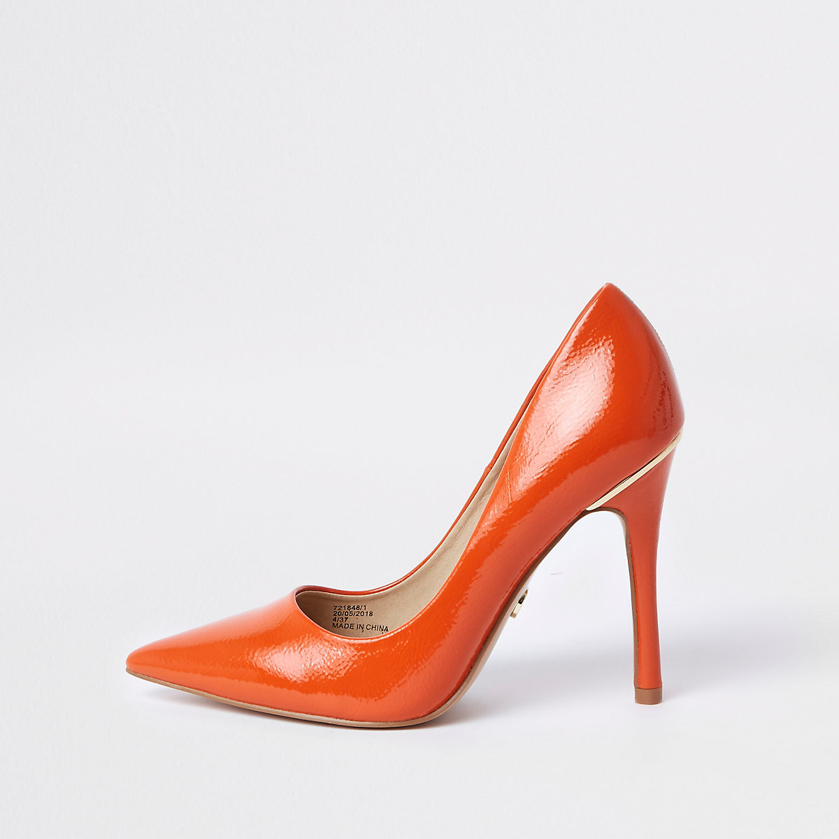 Orange patent court shoes