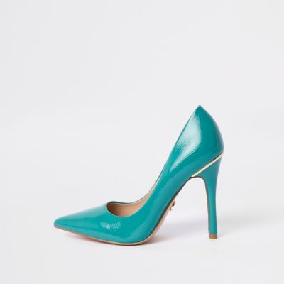 Light Blue Patent Court Shoes by River Island