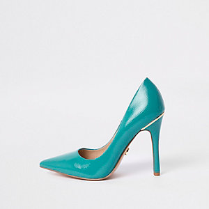 Light blue patent court shoes
