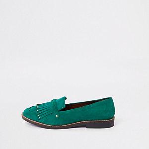 Grüne Loafer mit Fransen