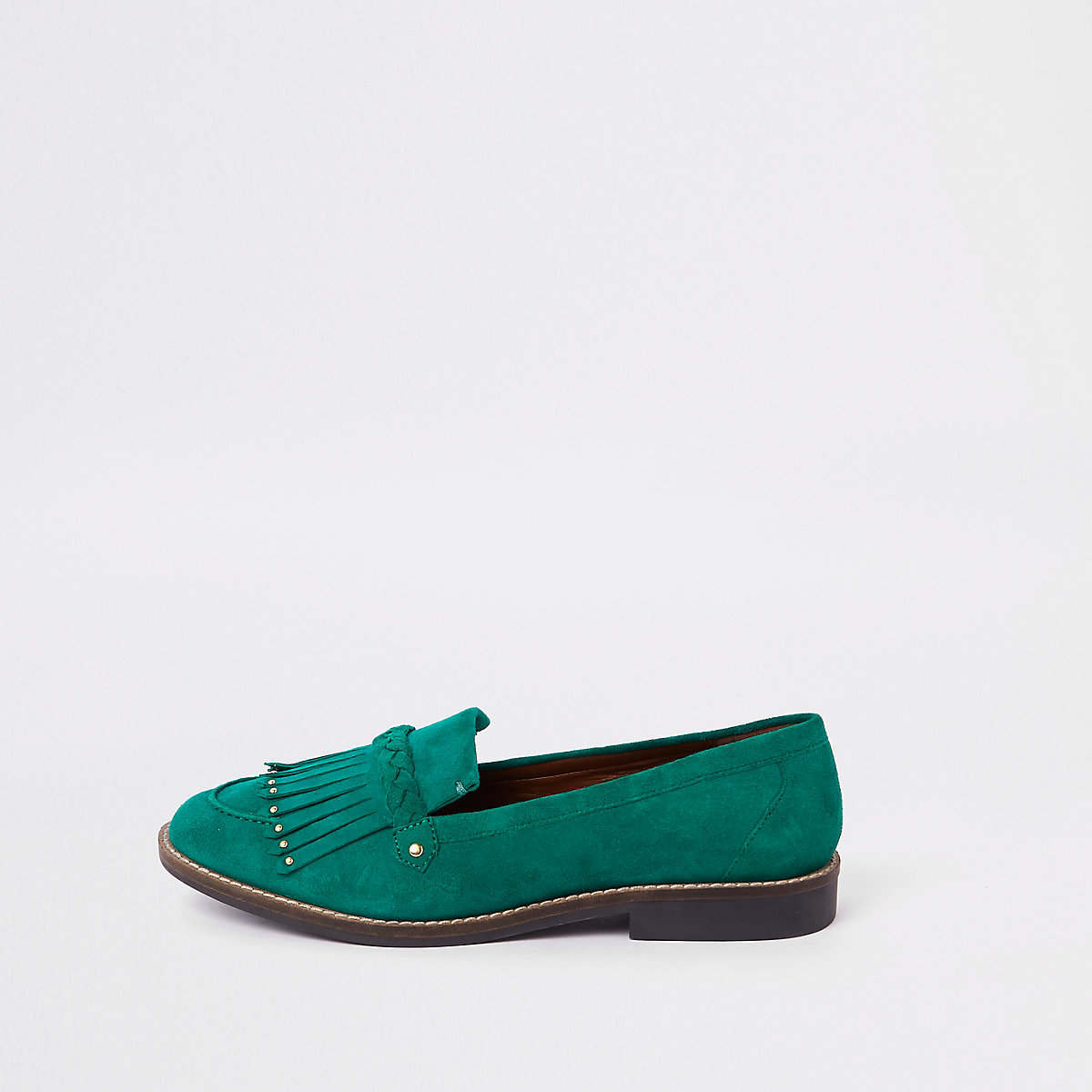 Green fringe detail loafer