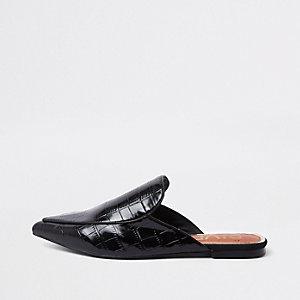 Schwarze, spitze Loafer in Kroko-Optik