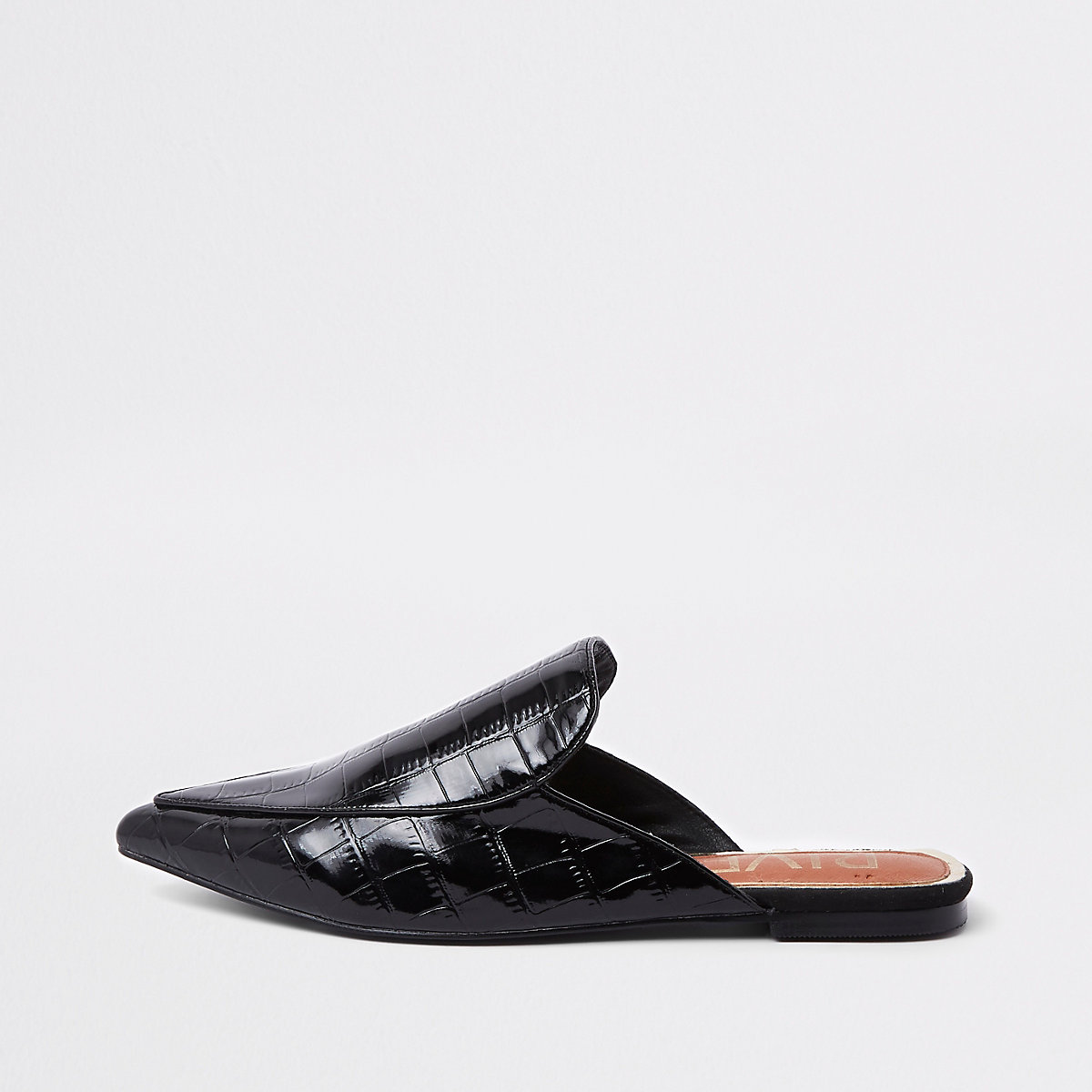 Black croc pointed toe backless loafers