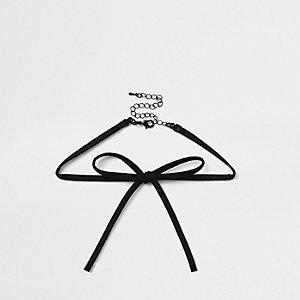 Ras-de-cou noir en velours avec nœud