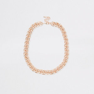 Rose gold tone multilink necklace