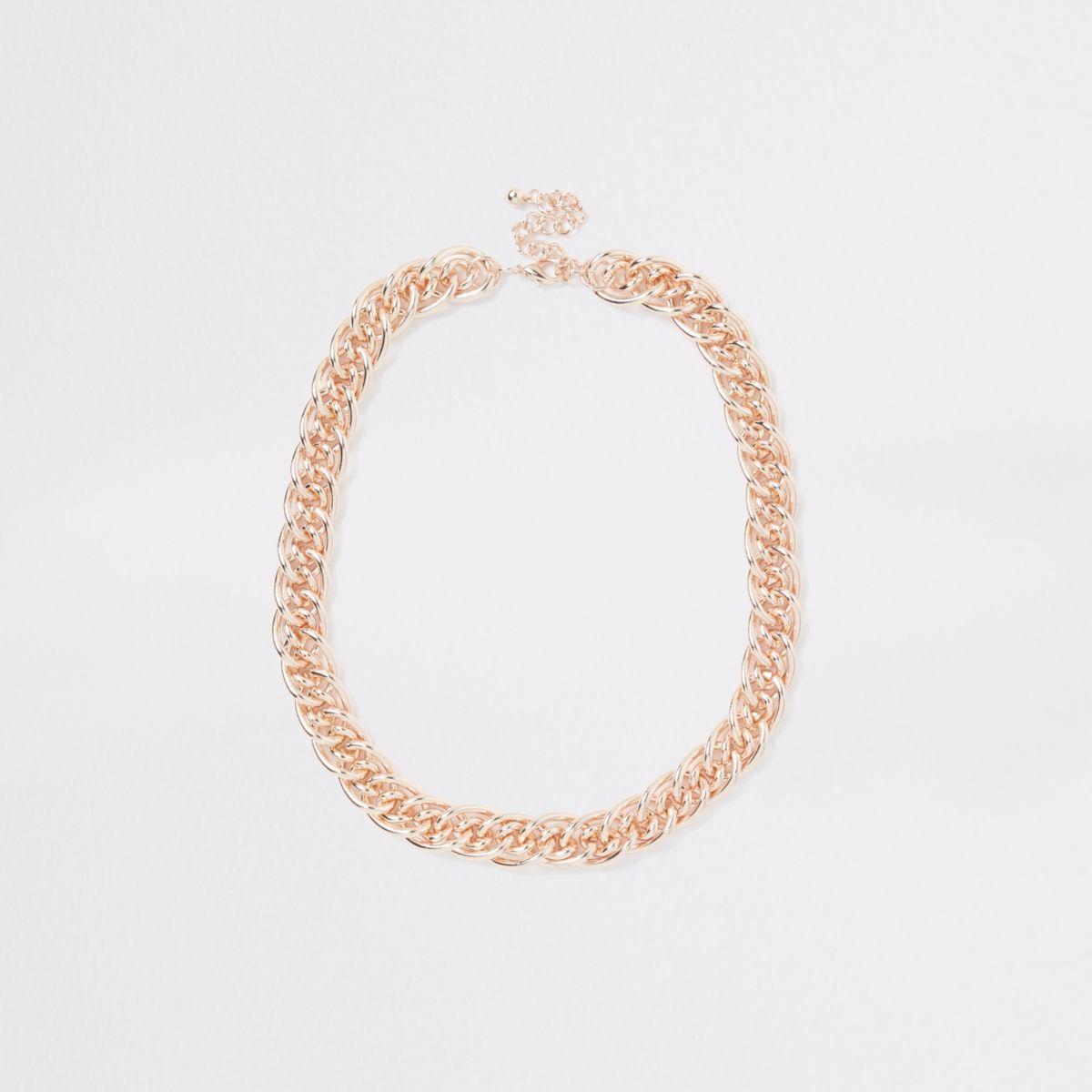Rose gold tone multilink necklace