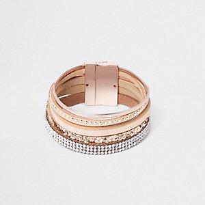 Roze metallic gelaagde magnetische armband