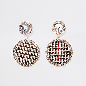 Brown gold tone check diamante stud earrings