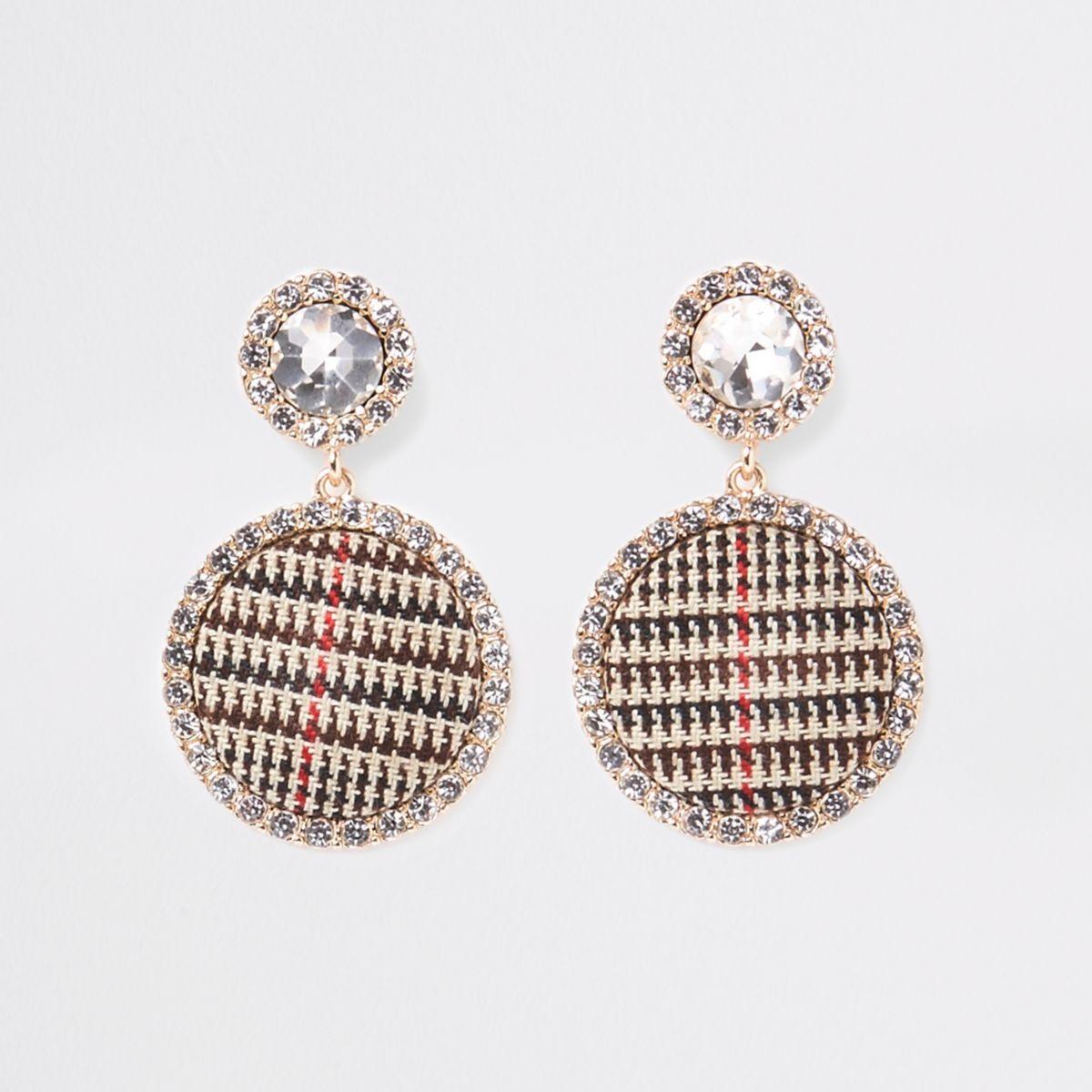 Brown gold tone check rhinestone stud earrings