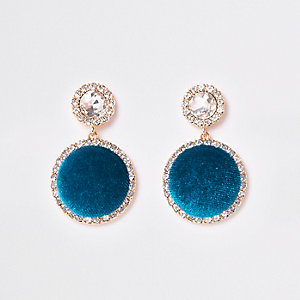 Turquoise gold tone rhinestone drop earrings