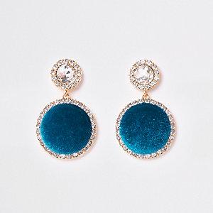 Turquoise met goudkleurige oorhangers met stras