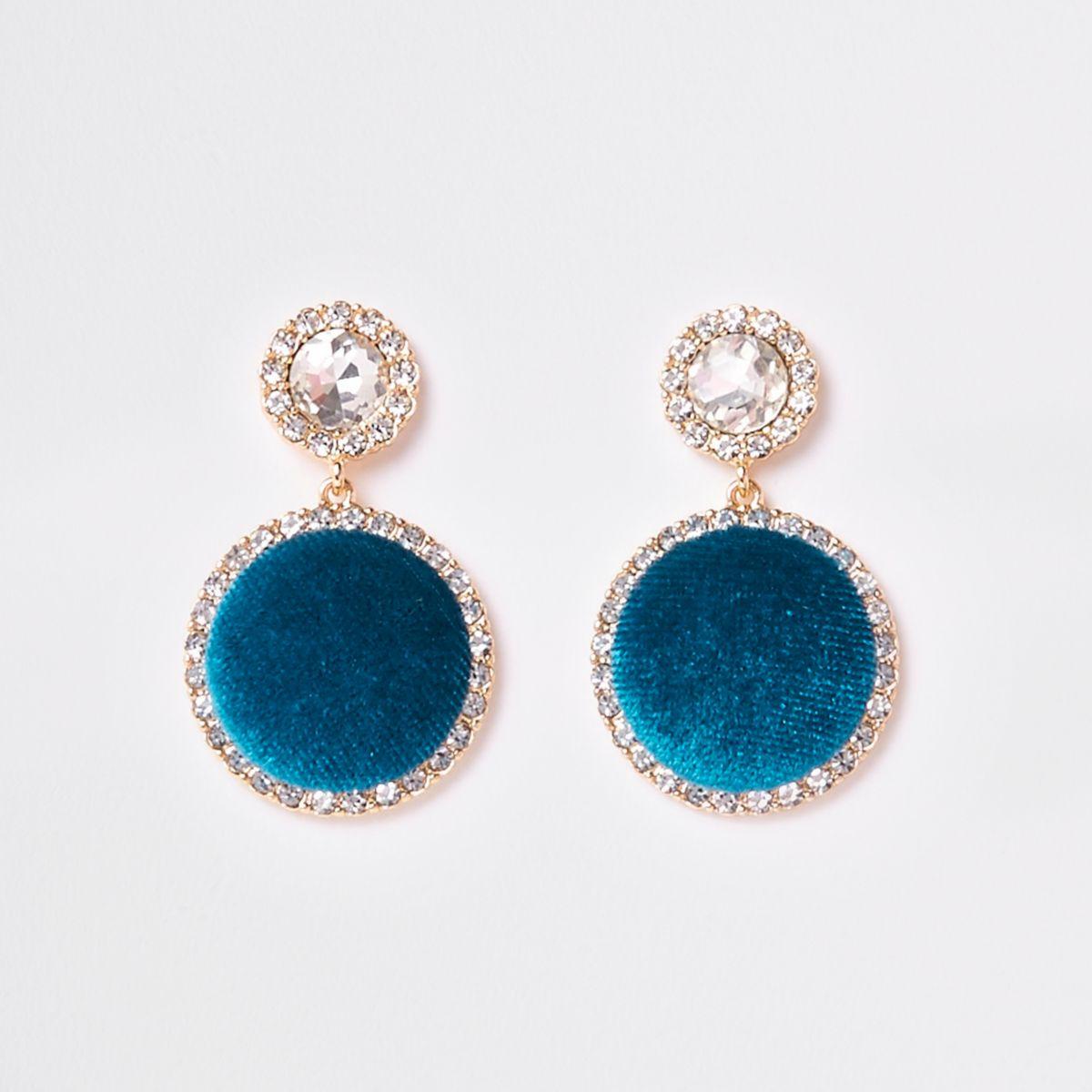Turquoise gold tone diamante drop earrings