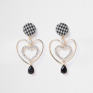 Gold tone tweed heart drop earrings